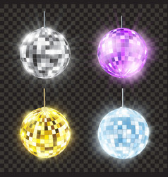 Realistic shiny disco ball set bright round vector