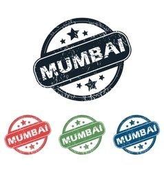 Round Mumbai city stamp set vector