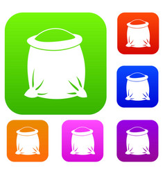 sack full of flour set collection vector image