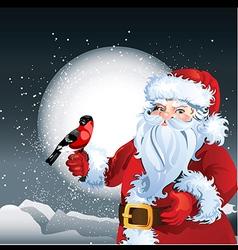 Santa with bird vector