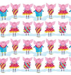 Seamless pattern cartoon pigs vector