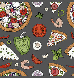 seamless pattern with italian pizza elements on vector image