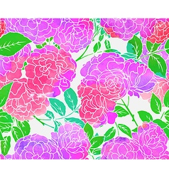 Seamless pattern with pink bush roses vector