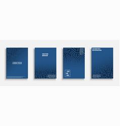 set blue geometric covers templates vector image