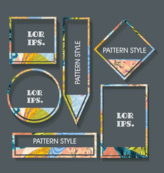 set flat labels in floral pattern paper tags vector image