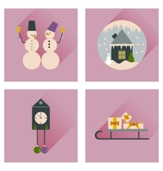 Set of flat web icons with long shadow Christmas vector