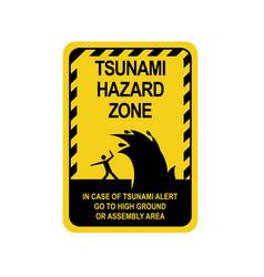 Sign warning of a tsunami vector