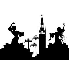 Silhouette of two flamenco dancers palm trees and vector