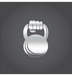 silver hand holding kettlebell design template vector image