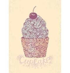 Sketch cupcake vector