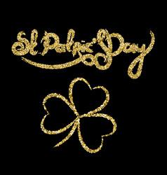 st patricks day golden lettering with clover vector image
