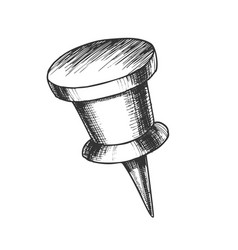 Stationery pushpin with cylinder form top vector