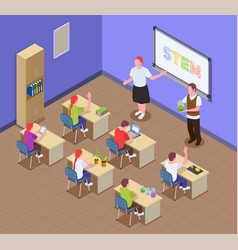 stem education classroom composition vector image