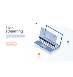 Streaming concept isometric laptop and live video vector