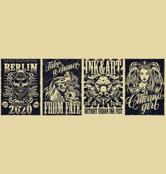 Tattoo fests and chicano style vintage posters vector