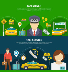 Taxi service banners collection vector