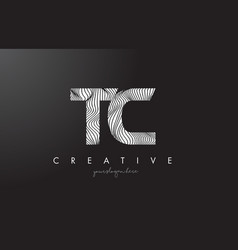 Tc t c letter logo with zebra lines texture vector