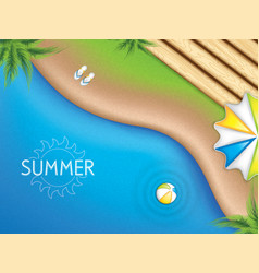 Top view beach background with palm trees vector