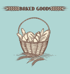 vintage baked goods basket vector image