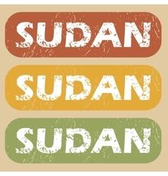Vintage Sudan stamp set vector