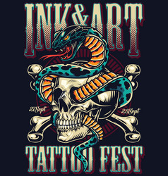 Vintage tattoo fest advertising template vector