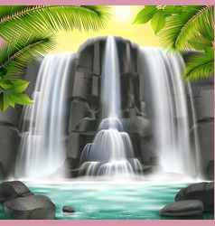 Waterfall realistic background vector