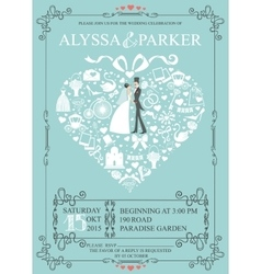 Wedding invitation with heart compositionBride vector