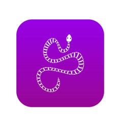 White striped snake icon digital purple vector