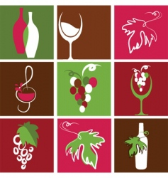 wine bottle and glass icons vector image