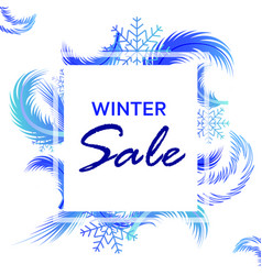 winter sale banner with frosty pattern vector image