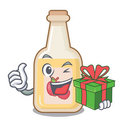 With gift apple cider in character shape vector