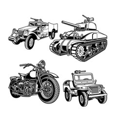 World war 2 military vehicles united states vector