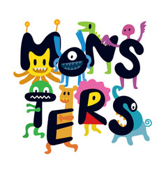 cute monsters cartoon characters vector image