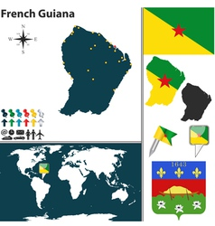 French Guiana map world vector image vector image