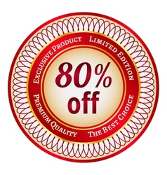 Label on 80 percent discount vector image