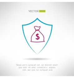 Money bag in a shield icon Deposit safety concept vector image