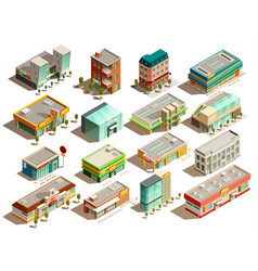 store buildings isometric icons set vector image vector image