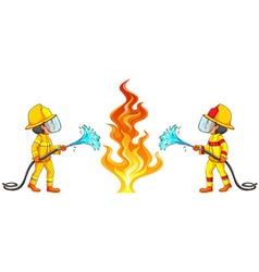 Two firemen putting out the fire vector image