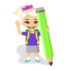 cute little girl holding big green pencil vector image vector image