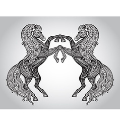 Hand drawn couple of horses in graphic ornamental vector