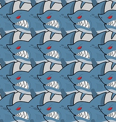 Hungry shark with red eyes seamless texture Evil vector image