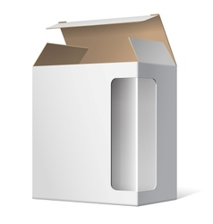Light Realistic Open Package Cardboard Box with a vector image