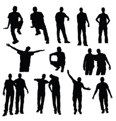 man silhouette in variouses poses set vector image vector image