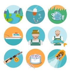 Set of fishing flat icons vector image