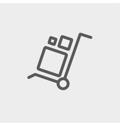 Trolley with boxes thin line icon vector