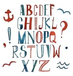 watercolor alphabet in marine style vector image vector image