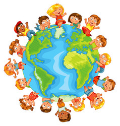 earth day cute little kids vector image vector image