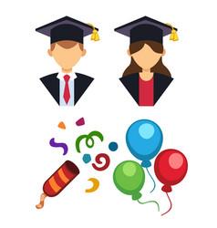 graduation man and woman silhouette uniform avatar vector image
