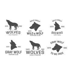 set of wolf logo design elements vector image