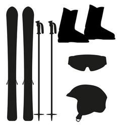 ski equipment icon set silhouette vector image vector image